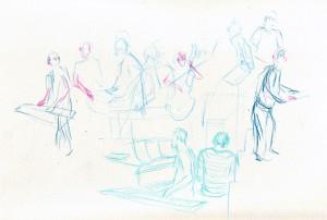 Schets tijdens repetitie van The Colorist op 24 september 2014 door Judith Mertens
